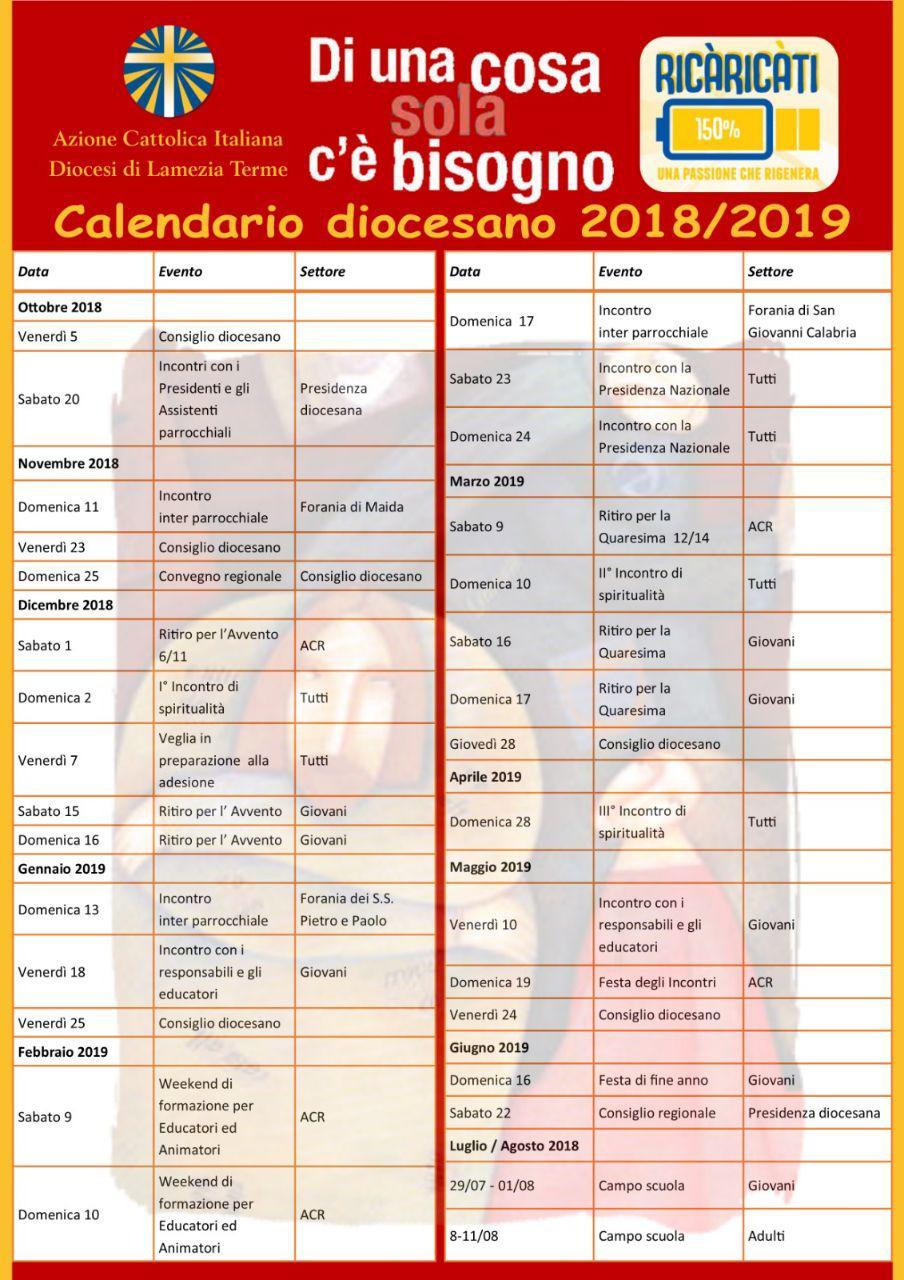 Parole Di Vita Calendario 2019.Calendario Diocesano 2018 2019 Azione Cattolica Diocesi